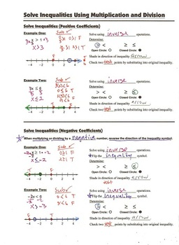 Algebra Guided Interactive Math Notebook Page: Inequalities (mult & div)