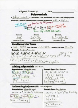 Algebra Guided Interactive Math Notebook Page: Introduction to Polynomials