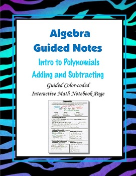 Algebra Guided Interactive Math Notebook Page: Introductio