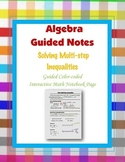 Algebra Guided Interactive Math Notebook Page: Multi-step Inequalities.
