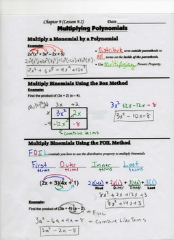 Algebra Guided Interactive Math Notebook Page: Polynomials (Box Method and Foil)