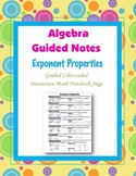 Algebra Guided Interactive Math Notebook Page: Properties of Exponents.