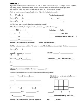 Algebra Guided Interactive Math Notebook Page: Quadratic Equation Word Problems
