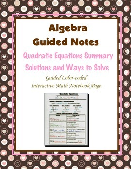 Algebra Guided Interactive Math Notebook Page: Quadratic E