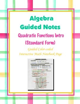 Algebra Guided Interactive Math Notebook Page: Quadratic Functions Introduction
