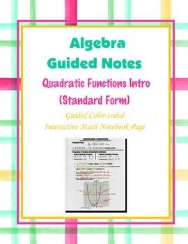 Algebra Guided Interactive Math Notebook Page: Quadratic F