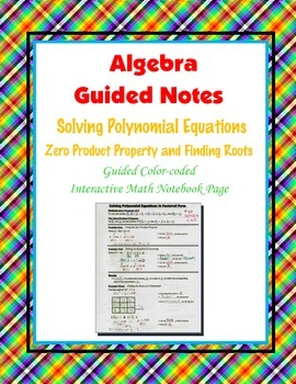 Algebra Guided Interactive Math Notebook Page: Roots and Z