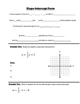 Algebra Guided Interactive Math Notebook Page: Slope-Intercept Form.