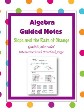 Algebra Guided Interactive Math Notebook Page: Slope and t