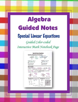 Algebra Guided Interactive Math Notebook Page: Special Typ