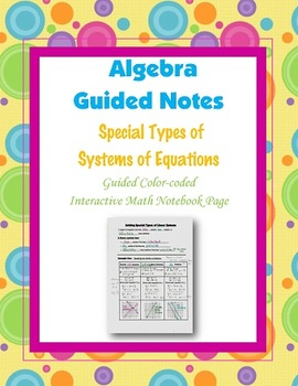 Algebra Guided Interactive Math Notebook Page: Special Types of Systems