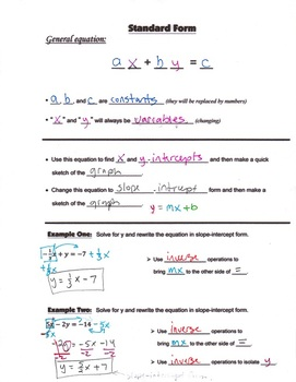 Algebra Guided Interactive Math Notebook Page: Standard Form.