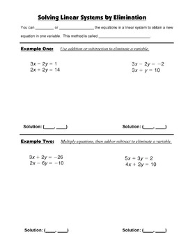 Algebra Guided Interactive Math Notebook Page: Systems by Elimination
