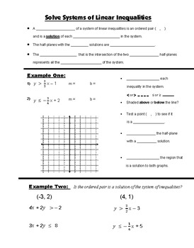 Algebra Guided Interactive Math Notebook Page: Systems of Inequalities
