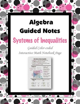 Algebra Guided Interactive Math Notebook Page: Systems of