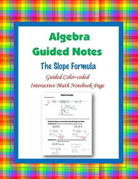 Algebra Guided Interactive Math Notebook Page: The Slope Formula.