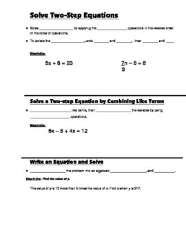 Algebra Guided Interactive Math Notebook Page: Two-step Equations.