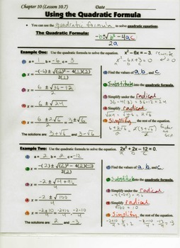 Algebra Guided Interactive Math Notebook Page: Using the Quadratic Formula