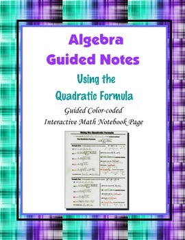 Algebra Guided Interactive Math Notebook Page: Using the Q