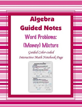 Algebra Guided Interactive Math Notebook Page: Word Problems (4)