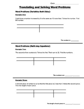 Algebra Guided Interactive Math Notebook Page: Word Problems (1)