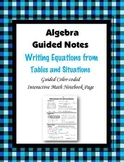 Algebra Guided Interactive Math Notebook Page: Writing Equations (Tables)