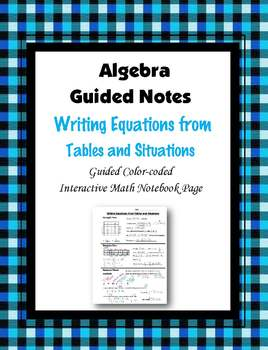 Algebra Guided Interactive Math Notebook Page: Writing Equ