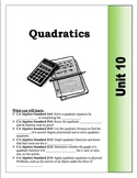 Algebra Guided Presentation Notes: Unit 10 - Quadratic Functions