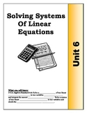 Algebra Guided Presentation Notes: Unit 6 - Solving Systems of Equations