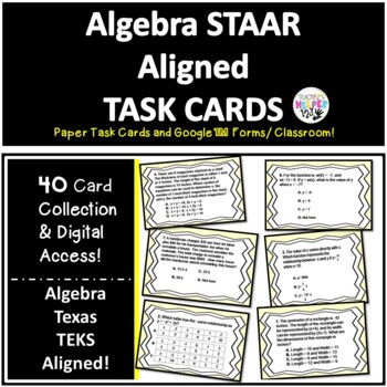 Algebra High School TX STAAR | 40 Card Collection | Task Cards