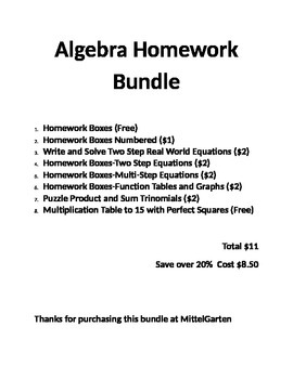 Algebra Homework Boxes Bundle