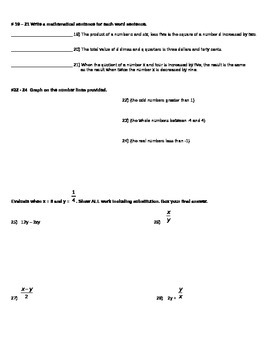 Algebra Honors Chapter 1 Test Numbers and Variables