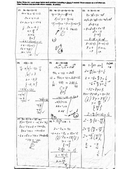 Algebra Honors Chapter 3 Test Solving Equations, Algebra Properties and Proofs