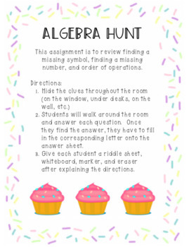 Algebra Hunt for Missing Symbols and Numbers!