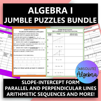 Algebra 1 $100,000 Pyramid Game Activity Bundle (9 Games)