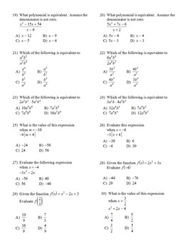 Algebra I 150 Multiple Choice SOL type questions