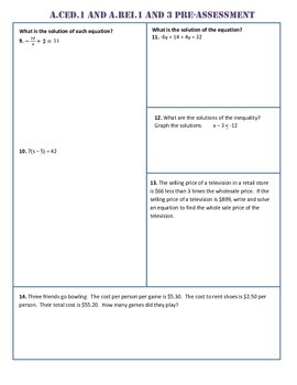 Algebra I All Common Core Standard Assessments/Tests (both Pre and Post)
