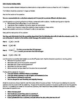 Algebra I Anchor Problem