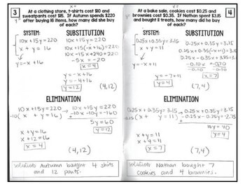 Algebra 1 - Applying Systems of Equations Foldable Graphing/Substit/Elimination