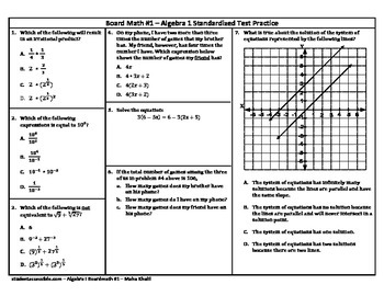 Algebra-I Board Math #1 - Standardized Test Practice