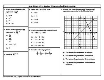 Algebra-I Board Math #2 - Standardized Test Practice
