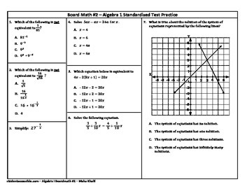 Algebra-I Board Math #2 - Standardized Test Practice