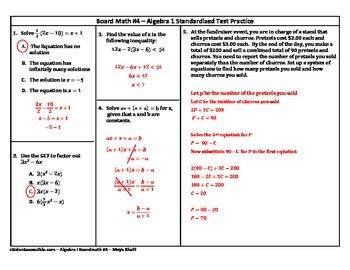 Algebra-I Board Math #4 - Standardized Test Practice