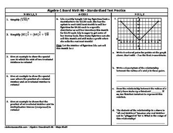 Algebra-I Board Math #8 - Standardized Test Practice