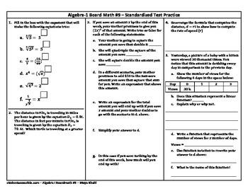 Algebra-I Board Math #9 - Standardized Test Practice