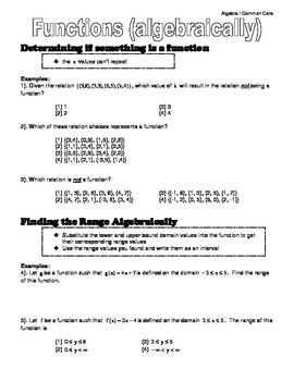 Algebra I Common Core Regents Review Topic #10- Functions (algebraically)