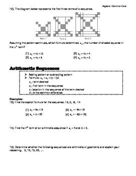 Algebra I Common Core Regents Review Topic #11- Sequences