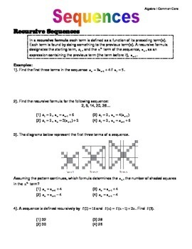 Algebra I Common Core Regents Review Topic #11- Sequences