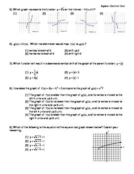 Algebra I Common Core Regents Review Topic #14- Transformations of Functions