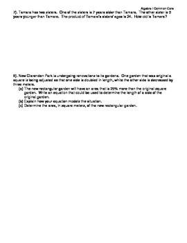 Algebra I Common Core Regents Review Topic #4- Word Problems
